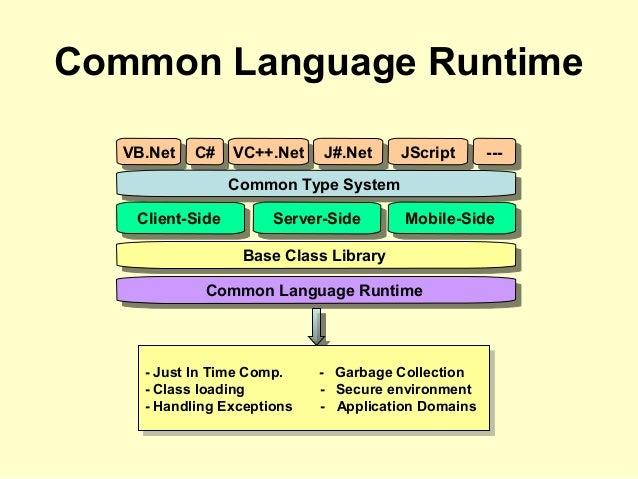 Common Language Runtime VB.NetVB.Net C#C# VC++.NetVC++.Net J#.NetJ#.Net JScriptJScript ------ Common Type SystemCommon Typ...