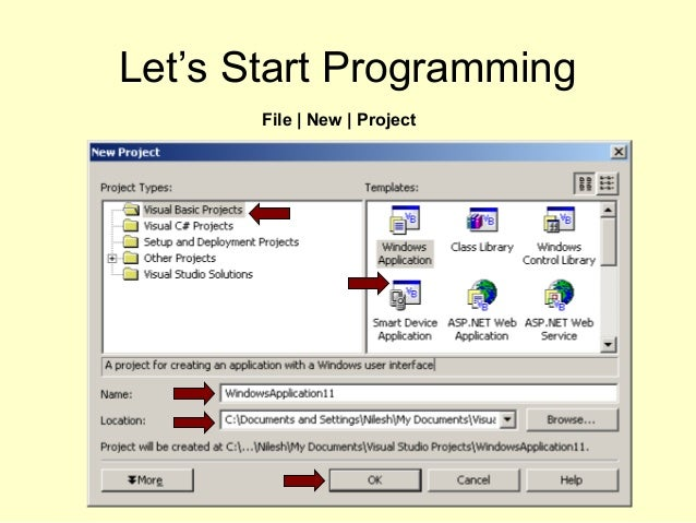 Let's Start Programming File | New | Project