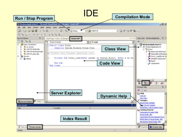 IDE Code View Server Explorer Class View Dynamic Help Index Result Run / Stop Program Compilation Mode