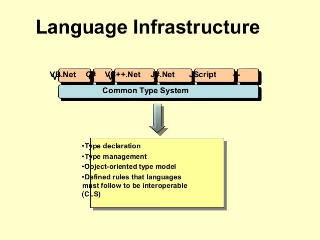 Language Infrastructure VB.NetVB.Net C#C# VC++.NetVC++.Net J#.NetJ#.Net JScriptJScript ------ Common Type SystemCommon Typ...