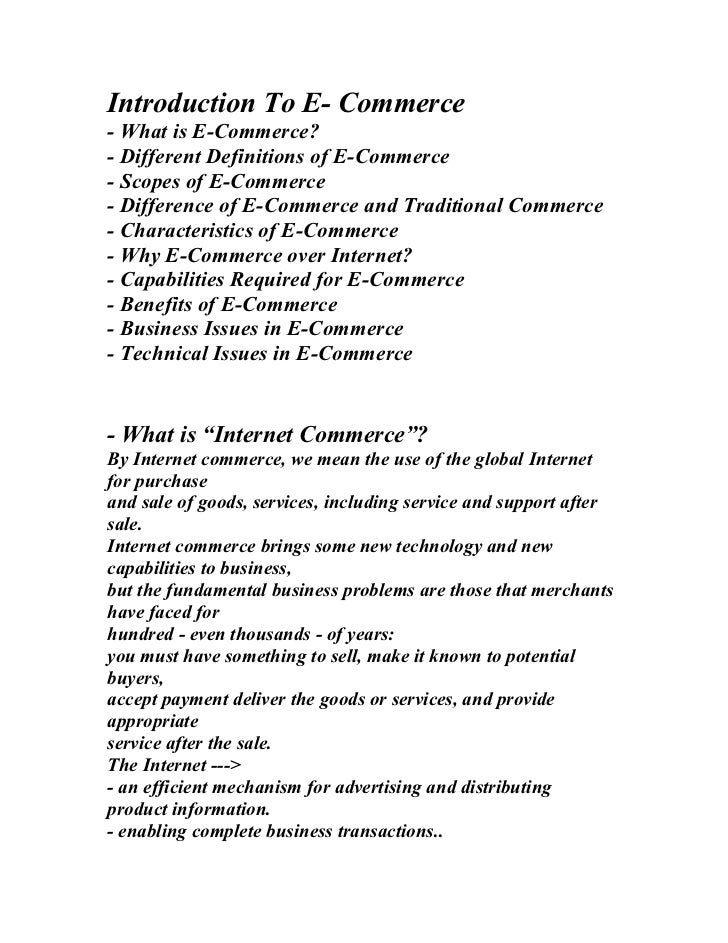 Introduction To E- Commerce- What is E-Commerce?- Different Definitions of E-Commerce- Scopes of E-Commerce- Difference of...
