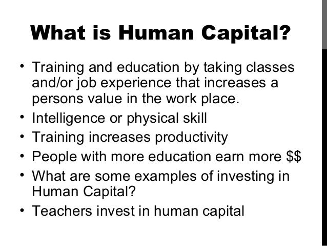 Human capital investment examples of thesis pre investment forms
