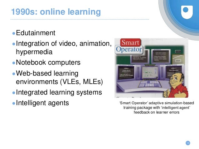 1990s: online learning ●Edutainment ●Integration of video, animation, hypermedia ●Notebook computers ●Web-based learning e...