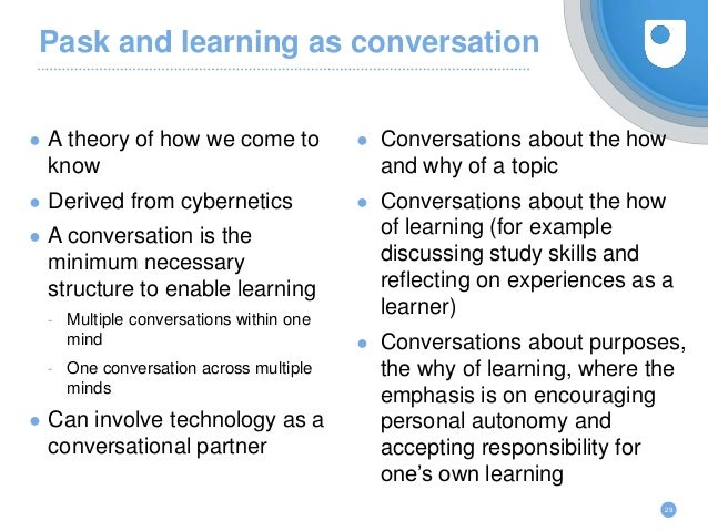 Pask and learning as conversation ● A theory of how we come to know ● Derived from cybernetics ● A conversation is the min...