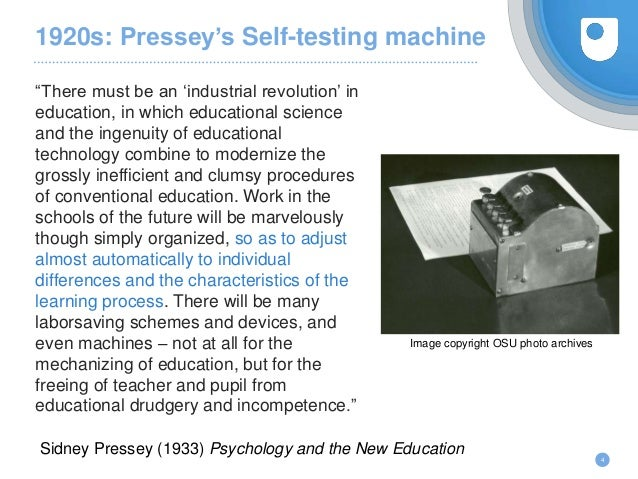 """1920s: Pressey's Self-testing machine 4 Image copyright OSU photo archives """"There must be an 'industrial revolution' in ed..."""