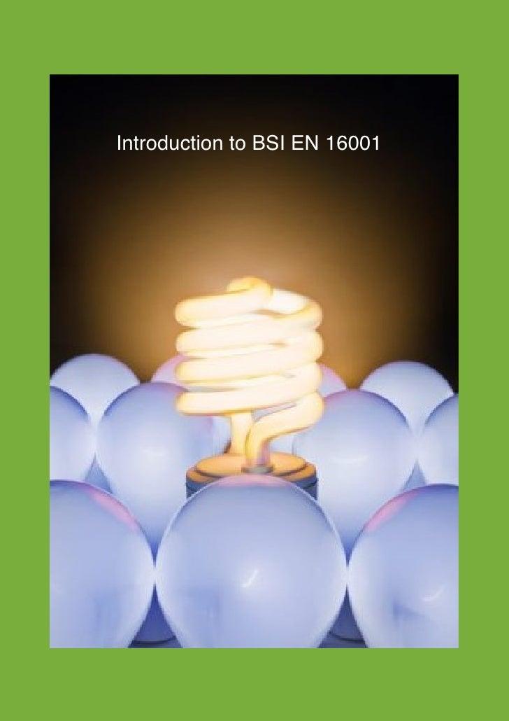 dddddd              Introduction to BSI EN 16001EcoLogic Consultancy