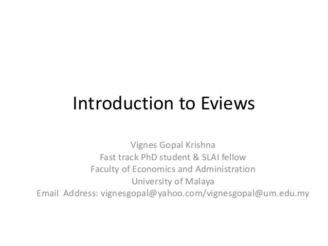 Workshop on Introduction to eviews