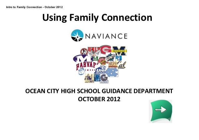 Intro to Family Connection ­ October 2012                          Using Family Connection             OCEAN CITY HIGH SCH...