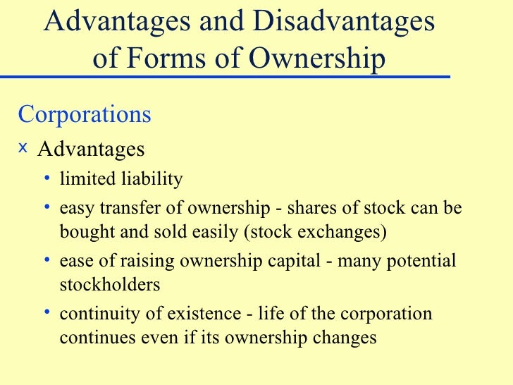 what are the advantages and disadvantages of public ownership A public limited company ('plc') is a company that is able to offer its shares to the  public   as always there are some disadvantages to being a plc (as opposed  to remaining as  business organisation: introduction to business ownership.