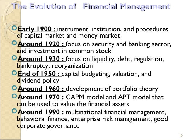 evolution of financial management Hey guys  this video talks about the three stages of evolution of financial management ie, the traditional phase, the transitional phase and the modern phase.