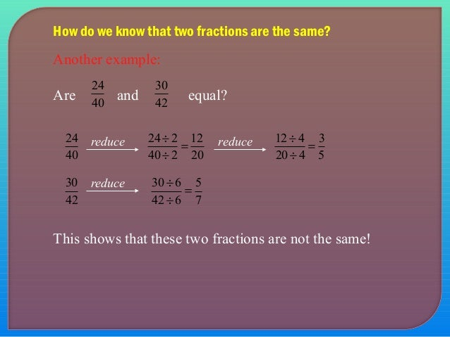 Introduction to fractions and concepts