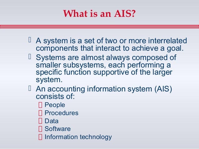 an introduction to the two controls for each of the ais information system applications As you can see, these definitions focus on two different ways of describing information systems: the components that make up an information system and the role that those components play in an organization.