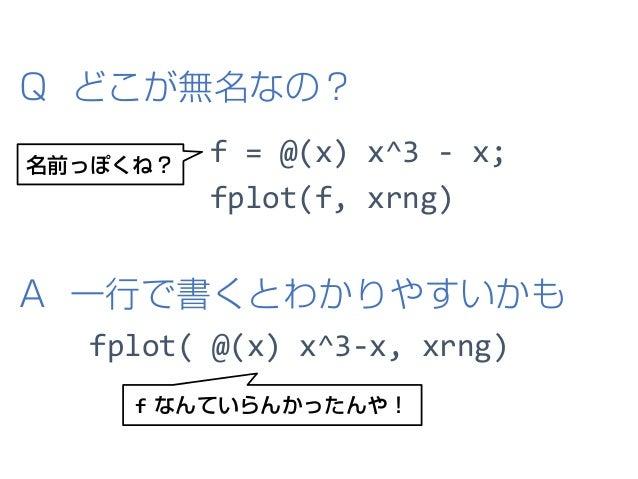 f = @(x) x^3 - x; fplot(f, xrng) A 一行で書くとわかりやすいかも f なんていらんかったんや! Q どこが無名なの? fplot( @(x) x^3-x, xrng) 名前っぽくね?