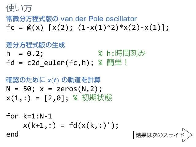 常微分方程式版の van der Pole oscillator fc = @(x) [x(2); (1-x(1)^2)*x(2)-x(1)]; 差分方程式版の生成 h = 0.2; % h:時間刻み fd = c2d_euler(fc,h);...