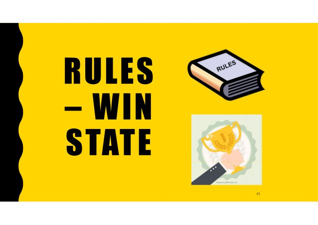 RULES – WIN STATE EXERCISE Challenge 1: Choose a rule and a win state that works well in an existing game and present it t...