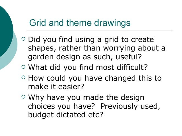 Garden Design Grid introduction to garden planning and design session 5