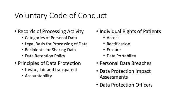 VoluntaryCodeofConduct • RecordsofProcessingActivity • CategoriesofPersonalData • LegalBasisforProcessingofD...