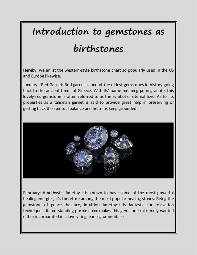 Introduction To Gemstones As Birth Stones
