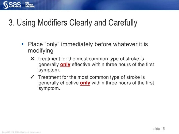 "3. Using Modifiers Clearly and Carefully                             Place ""only"" immediately before whatever it is      ..."