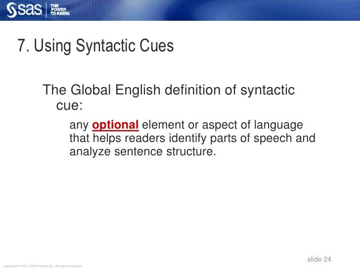 7. Using Syntactic Cues                            The Global English definition of syntactic                             ...