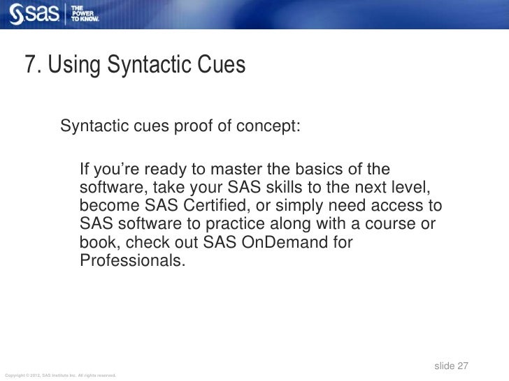 7. Using Syntactic Cues                            Syntactic cues proof of concept:                                      I...
