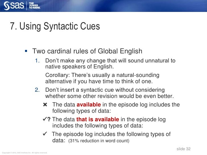 7. Using Syntactic Cues                             Two cardinal rules of Global English                                 ...