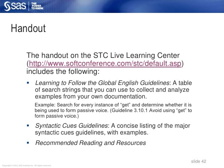 Handout                            The handout on the STC Live Learning Center                            (http://www.soft...