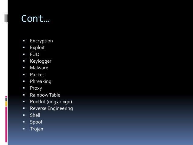 Cont…  Encryption  Exploit  FUD  Keylogger  Malware  Packet  Phreaking  Proxy  RainbowTable  Rootkit (ring3 ring...