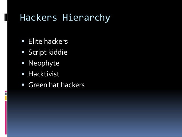 Hackers Hierarchy  Elite hackers  Script kiddie  Neophyte  Hacktivist  Green hat hackers