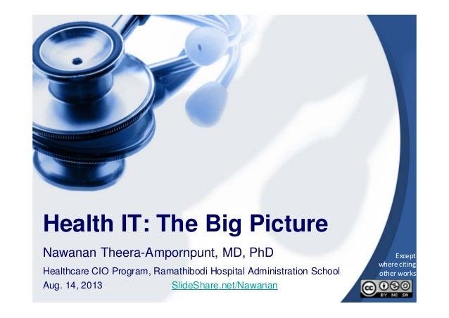 1 Health IT: The Big Picture Nawanan Theera-Ampornpunt, MD, PhD Healthcare CIO Program, Ramathibodi Hospital Administratio...