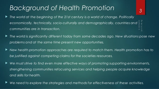 Introduction to health promotion Slide 3