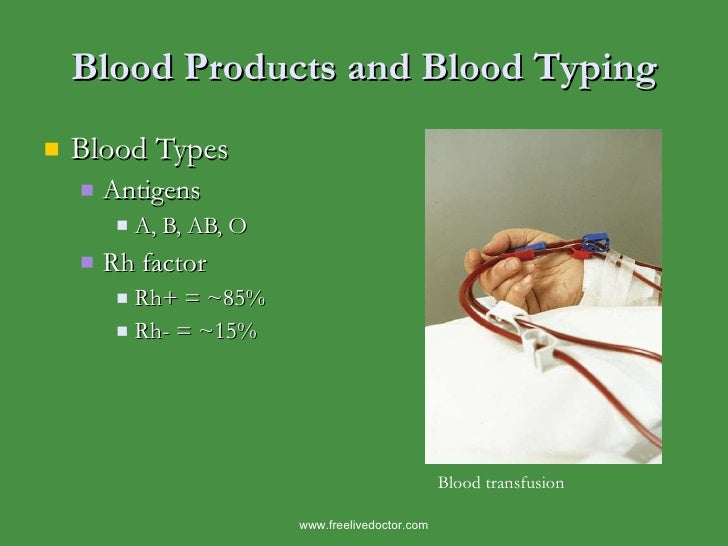 Blood Products and Blood Typing <ul><li>Blood Types </li></ul><ul><ul><li>Antigens </li></ul></ul><ul><ul><ul><li>A, B, AB...