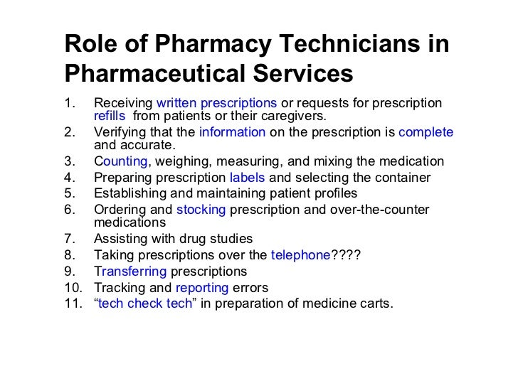 duties of a pharmacy tech - Template