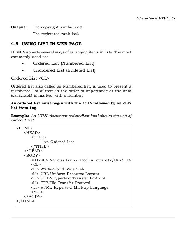 Introduction To Html 912 Kb