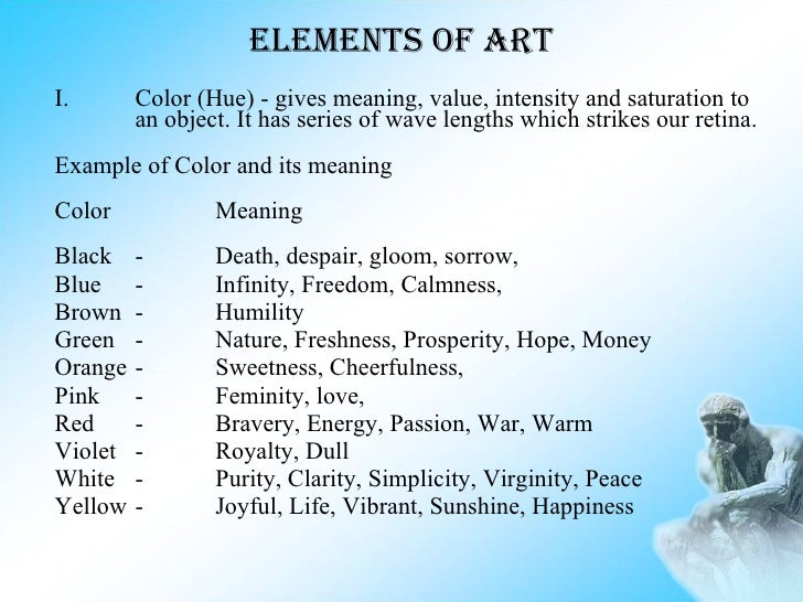 Elements Of Art Color Definition : Introduction to humanities boa