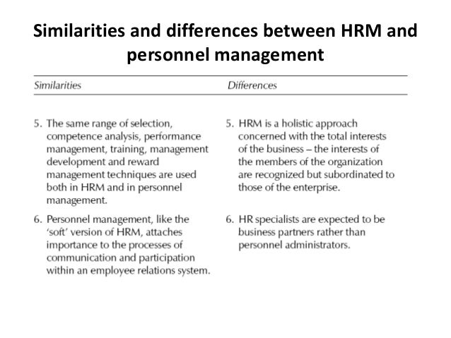 human resource management vs personal management This paper reports research on the conduct of personnel/human resource management in large and foreign‐owned uk hotels the findings are compared to a similar study undertaken by the authors ten years previously, in order to examine the extent of change which has taken place the extent to which human resource.