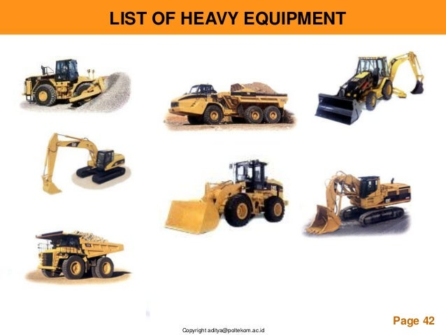 Introduction to hydraulic for Construction equipment list template