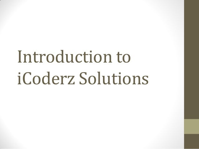Introduction to iCoderz Solutions