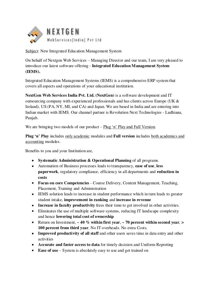 Subject: New Integrated Education Management SystemOn behalf of Nextgen Web Services – Managing Director and our team, I a...