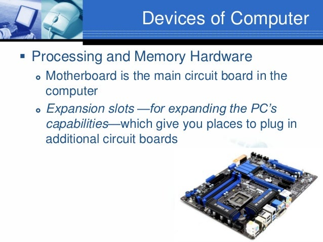 Devices of Computer  Processing and Memory Hardware     Motherboard is the main circuit board in the computer Expansion...