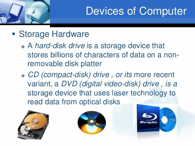 Devices of Computer  Storage Hardware     A hard-disk drive is a storage device that stores billions of characters of d...