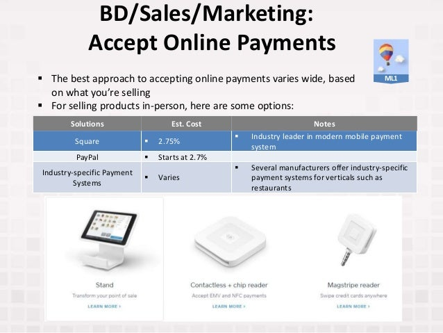 BD/Sales/Marketing: Accept Online Payments Solutions Est. Cost Notes Square  2.75%  Industry leader in modern mobile pay...