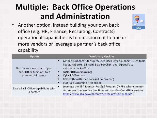 • Another option, instead building your own back office (e.g. HR, Finance, Recruiting, Contracts) operational capabilities...