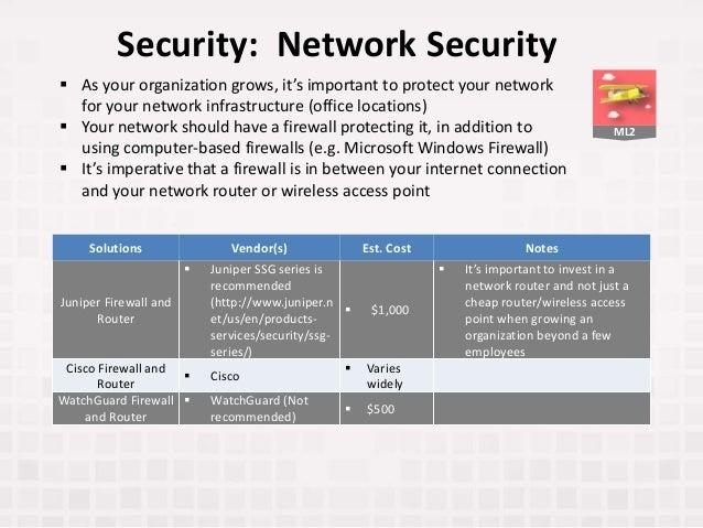ML2 Security: Network Security Solutions Vendor(s) Est. Cost Notes Juniper Firewall and Router  Juniper SSG series is rec...