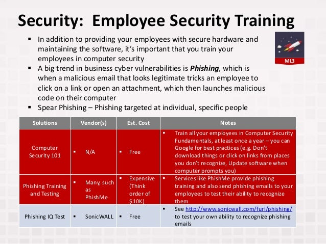 ML3 Security: Employee Security Training Solutions Vendor(s) Est. Cost Notes Computer Security 101  N/A  Free  Train al...