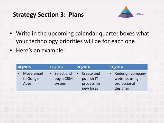 Strategy Section 3: Plans • Write in the upcoming calendar quarter boxes what your technology priorities will be for each ...