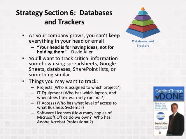 """Strategy Section 6: Databases and Trackers • As your company grows, you can't keep everything in your head or email – """"You..."""