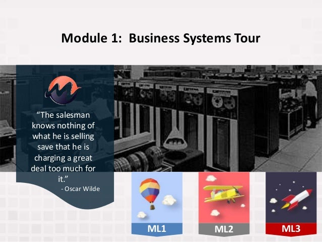 """Module 1: Business Systems Tour """"The salesman knows nothing of what he is selling save that he is charging a great deal to..."""