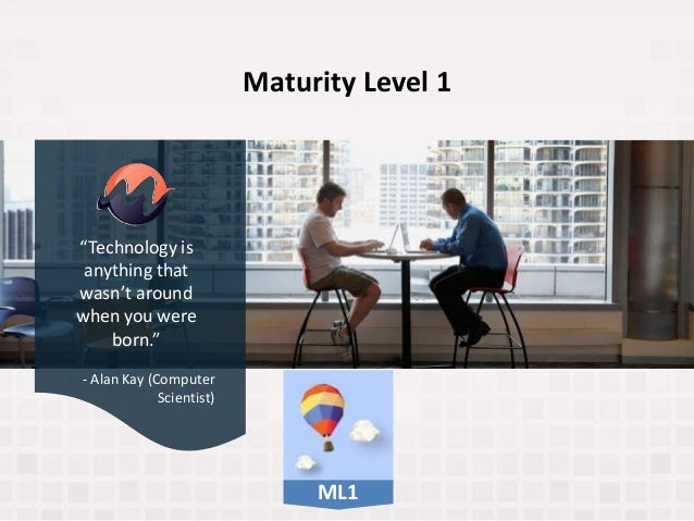 """Maturity Level 1 """"Technology is anything that wasn't around when you were born."""" - Alan Kay (Computer Scientist) ML1"""