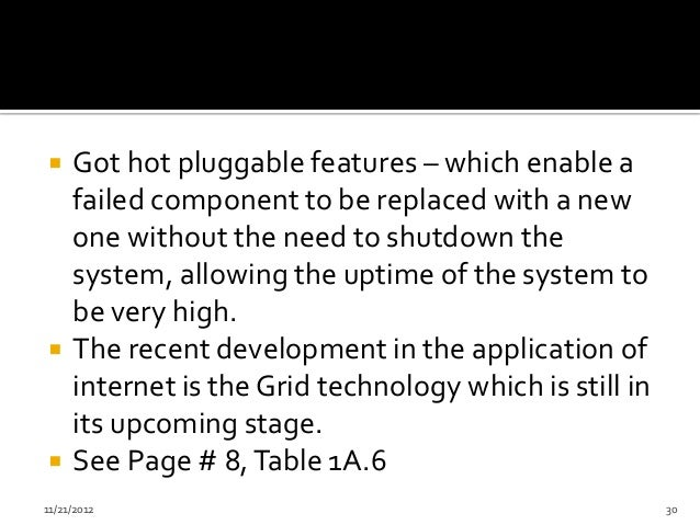     Got hot pluggable features – which enable a     failed component to be replaced with a new     one without the need t...